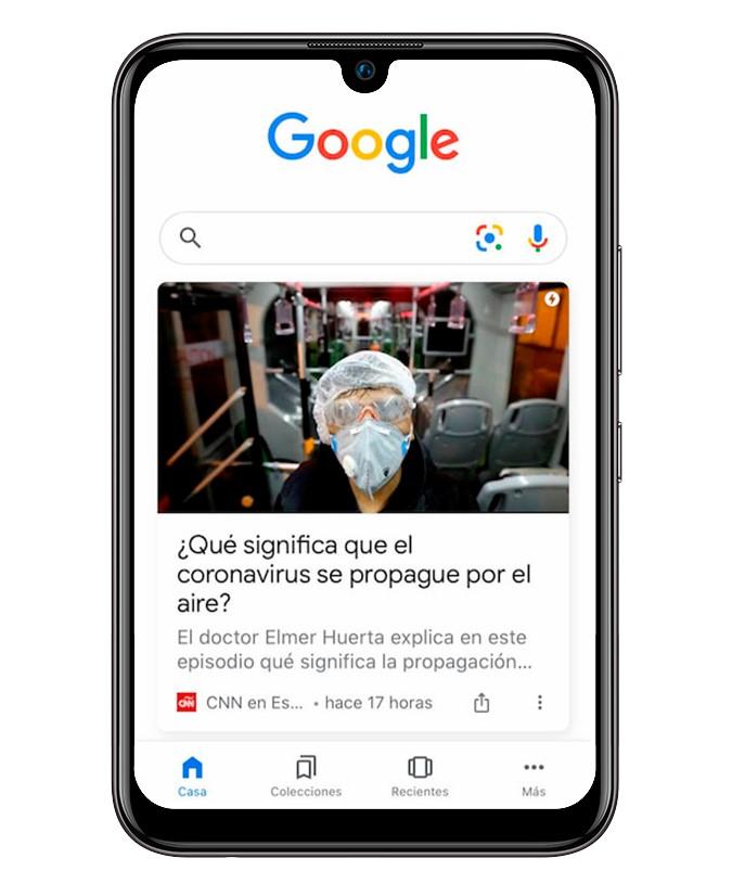 Ejemplo de tarjeta Google Discover Salud