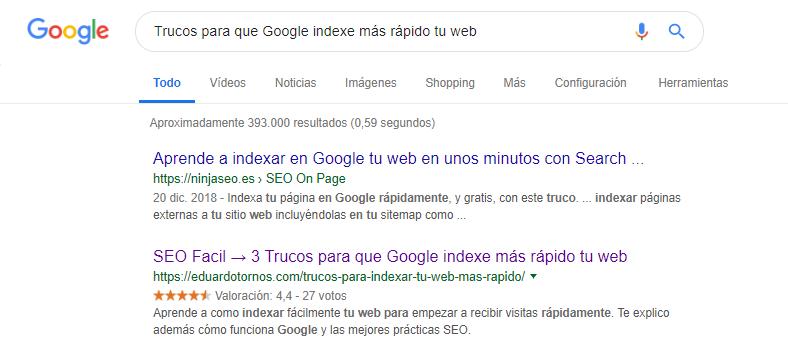 Trucos para indexar más rapidamente una web