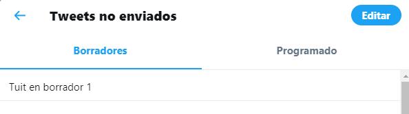 tuits no enviados en Twitter