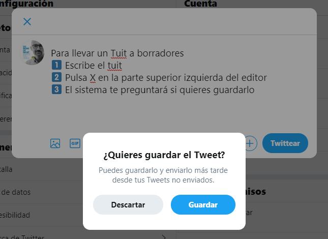 Guardar un tuit en borradores