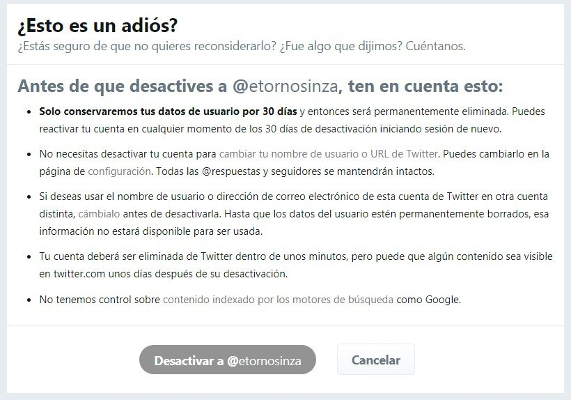 desactivar cuenta twitter