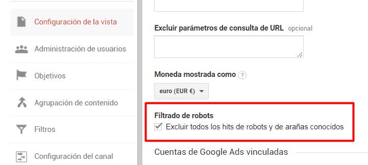 Filtrado de robots y arañas conocidas en Google Analitycs
