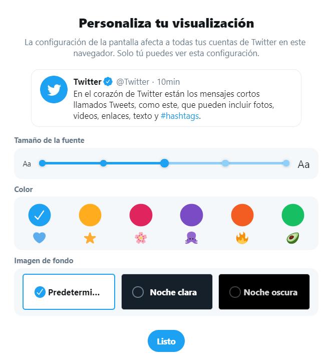 Personalizacion visualización de Twitter