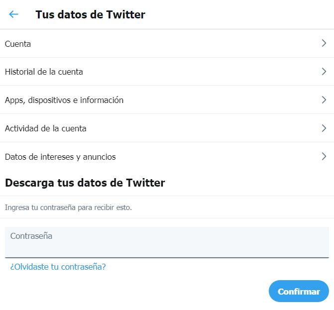 Tus datos de Twitter