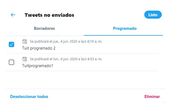 Tweets programados Twitter